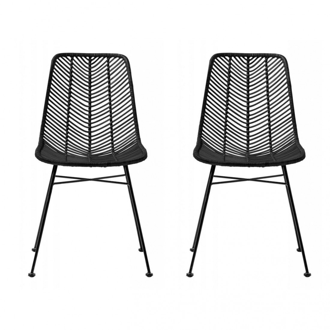 Lot de chaises en rotin noir Lena Chair Bloomingville