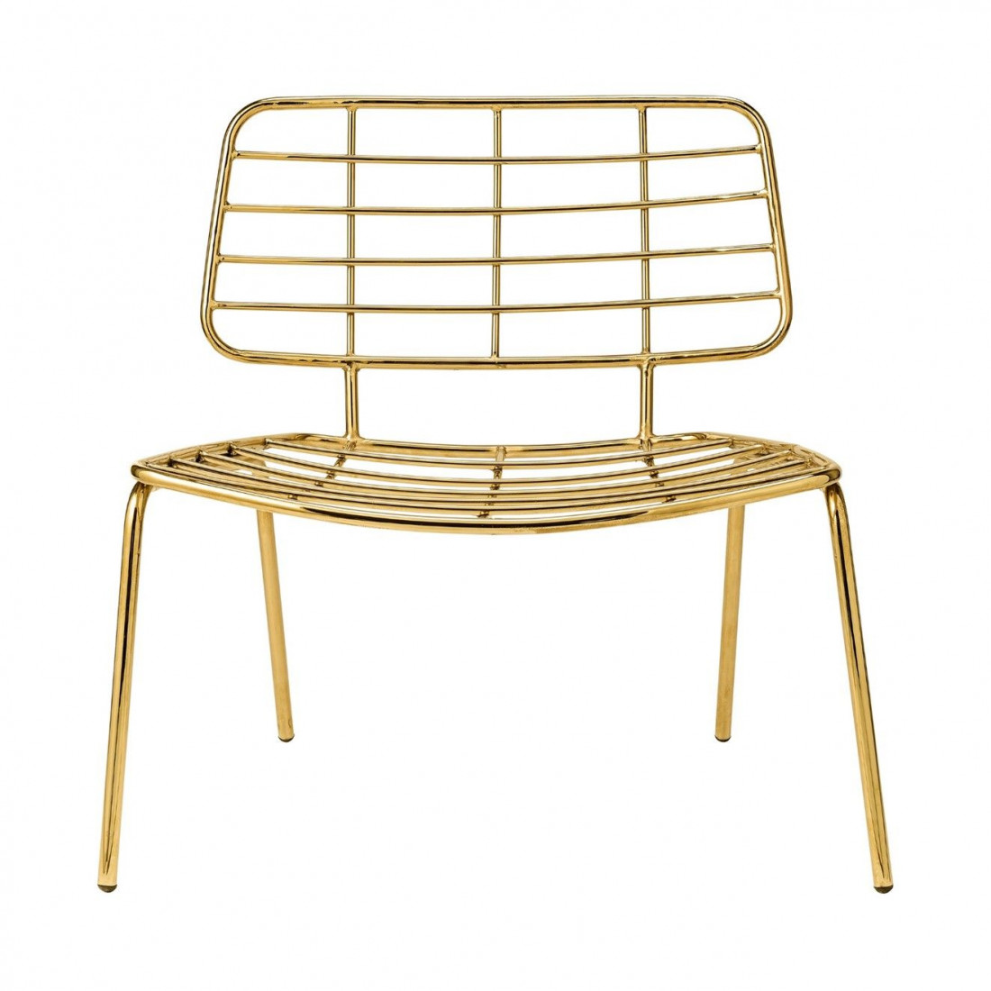 Chaise Mesh lounge Gold Bloomingville