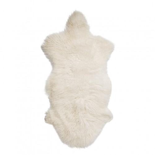 Tapis Blanc en peau d'agneau de Mongolie Bloomingville