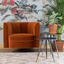 Fauteuil Flower en velours orange - Dutchbone