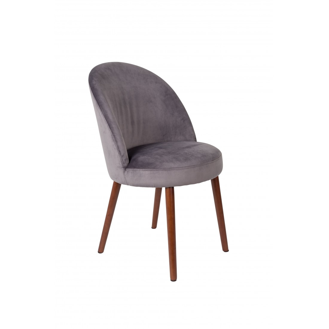 Chaise en velours Gris Barbara - Dutchbone