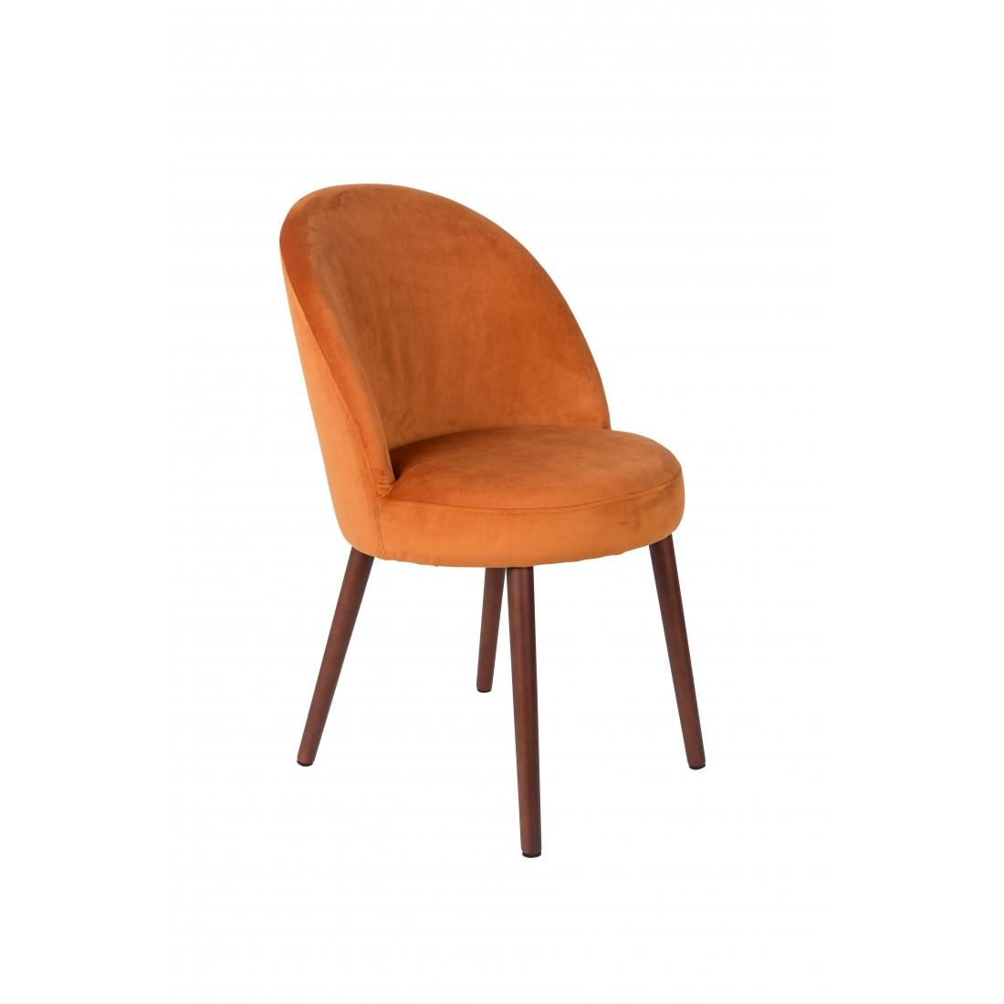 Chaise en velours Orange Barbara - Dutchbone