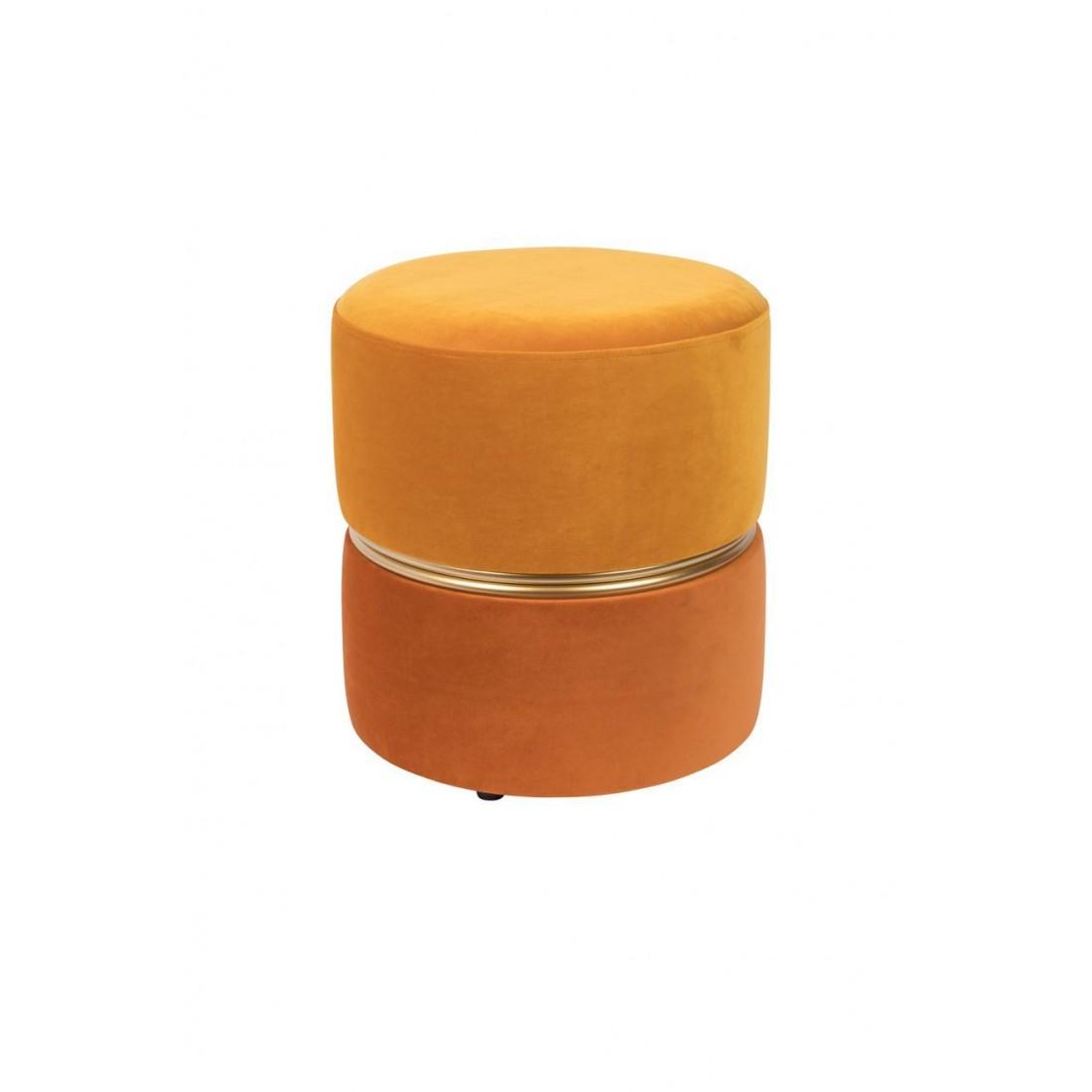 Pouf Bubbly en velours Orange White Label Living