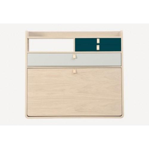 Secrétaire Mural Gaston Grand tiroir gris clair Chêne 80 cm Hartô
