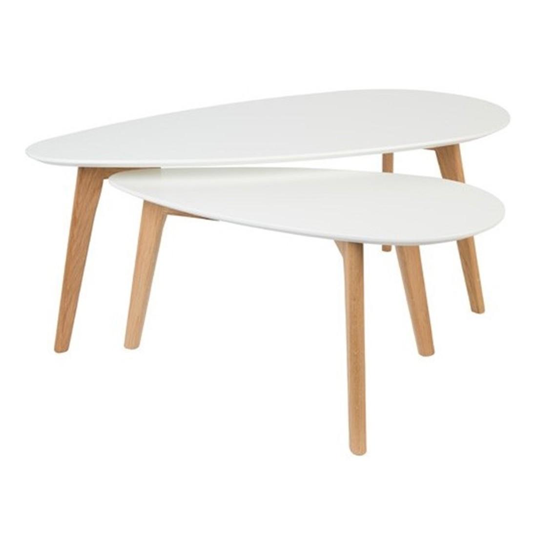 Lot de 2 Tables gigognes drop white label living