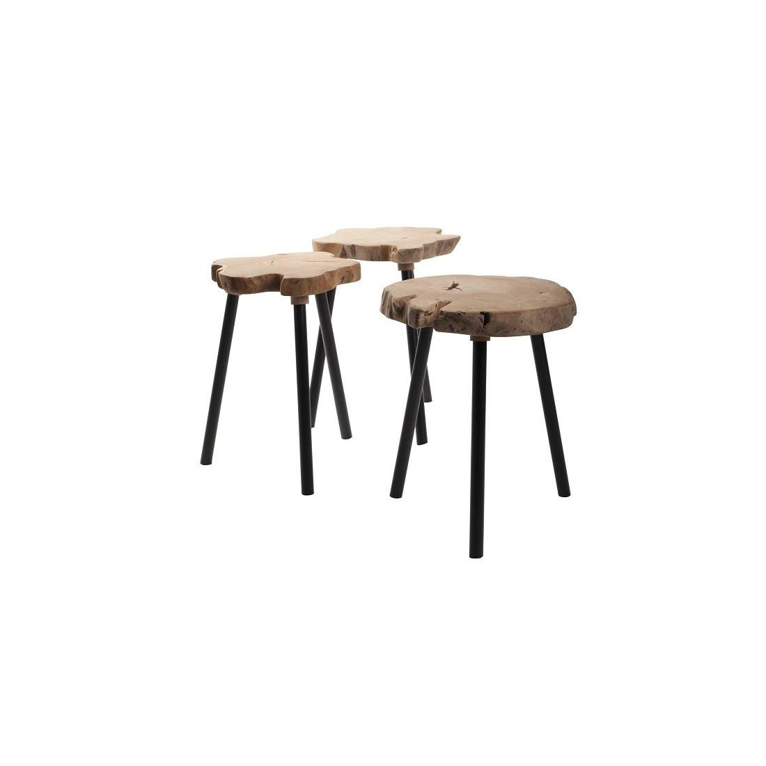 table d 39 appoint plateau tronc en bois brut pieds m tal treetop zuiver r. Black Bedroom Furniture Sets. Home Design Ideas